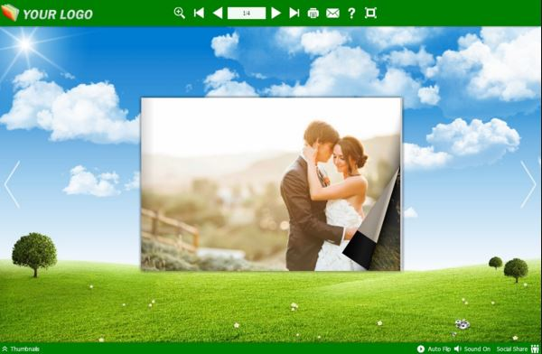 Flipbook design template with wedding photos